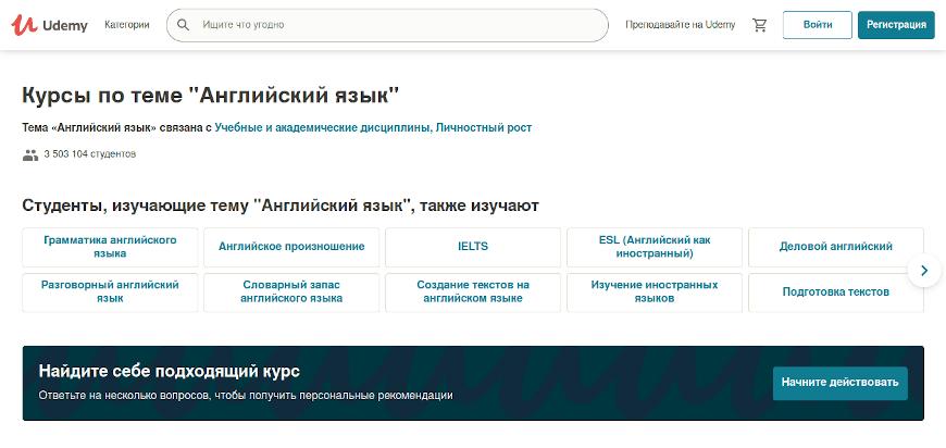 Маркетплейс курсов английского языка Udemy